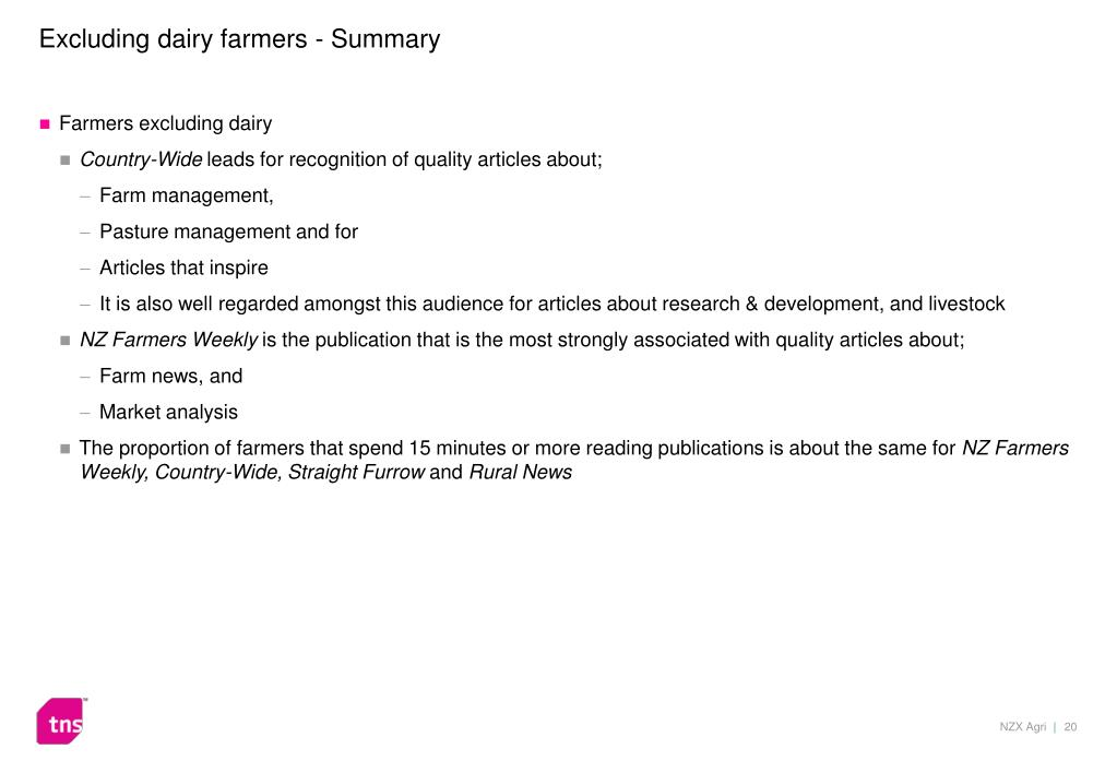 Excluding dairy farmers - Summary