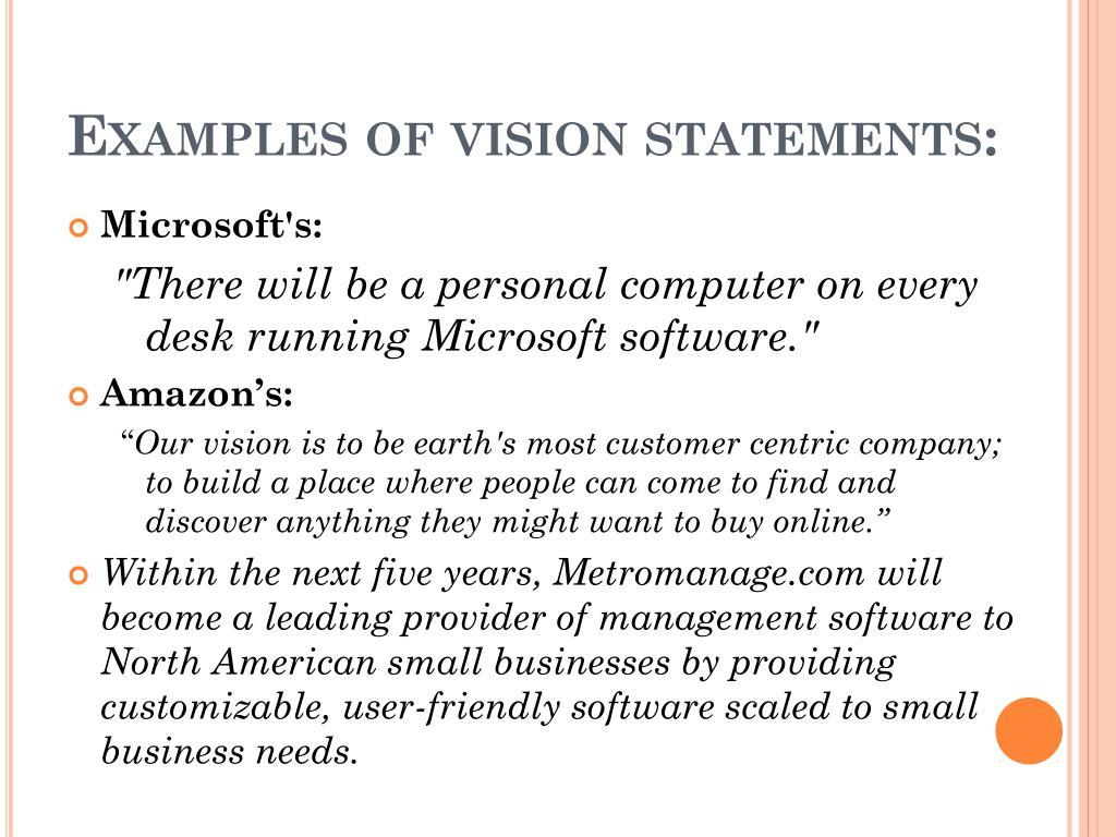 Examples of vision statements: