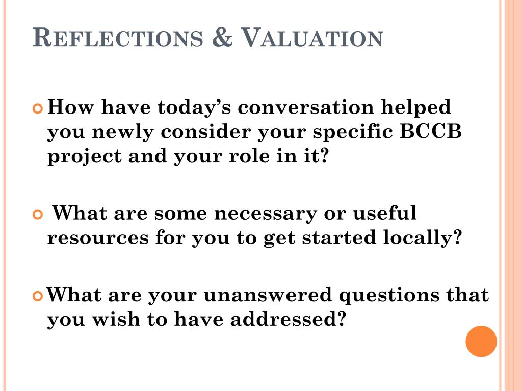Reflections & Valuation