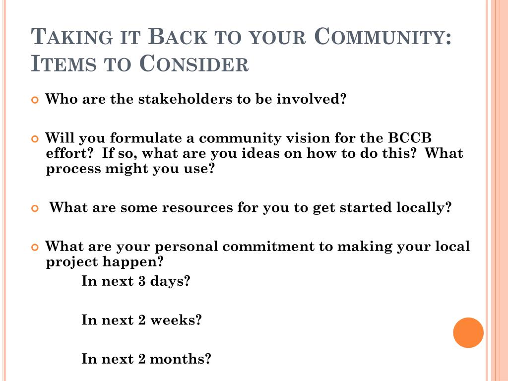 Taking it Back to your Community: