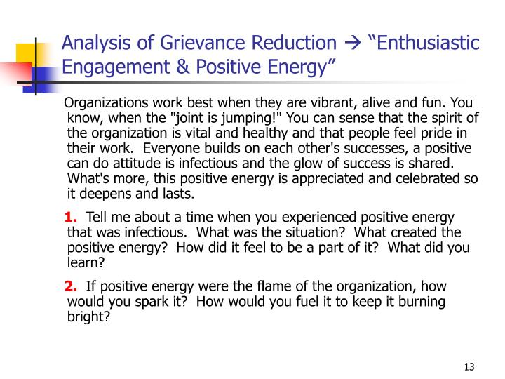 Analysis of Grievance Reduction