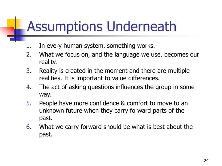 Assumptions Underneath