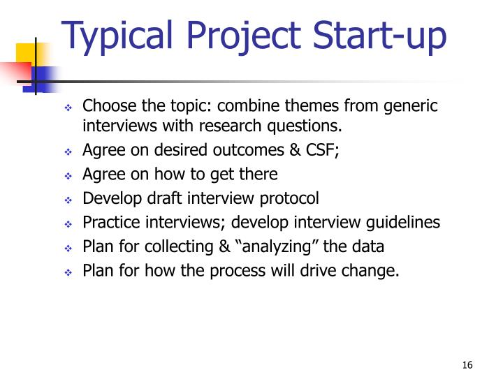Typical Project Start-up