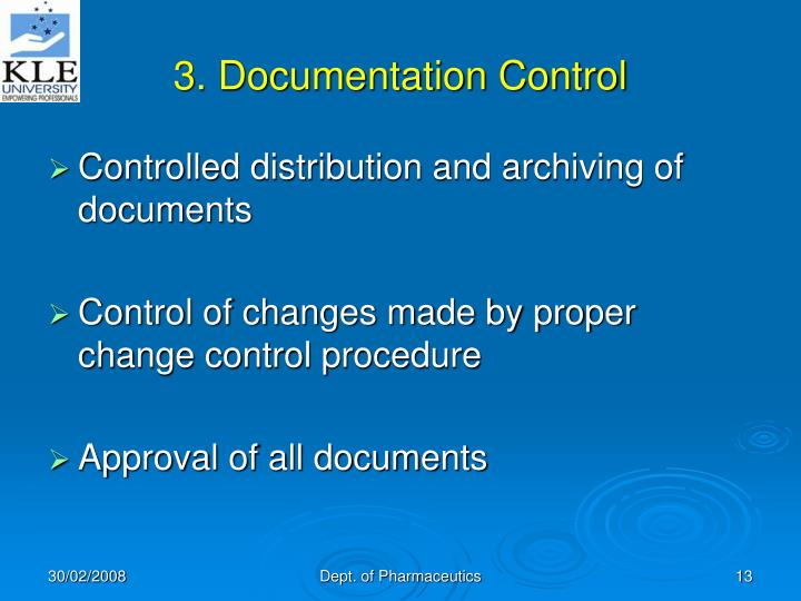 3. Documentation Control