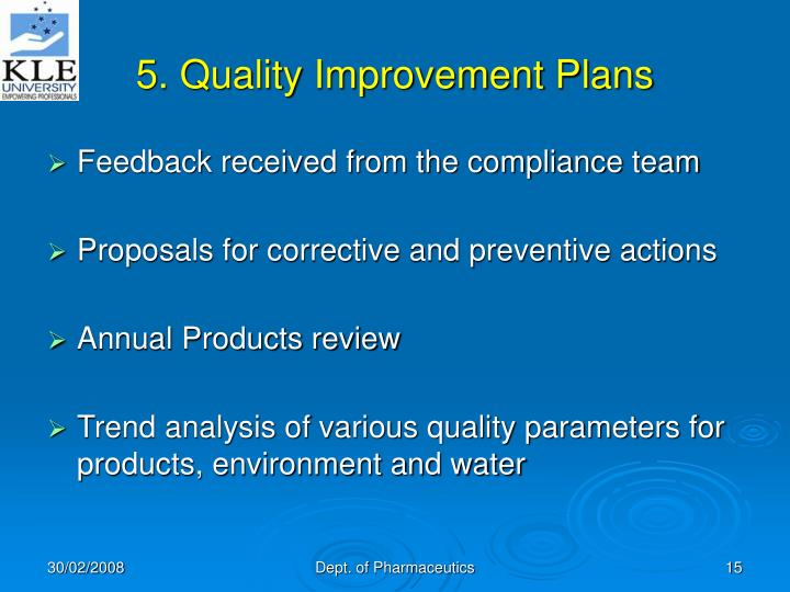 5. Quality Improvement Plans