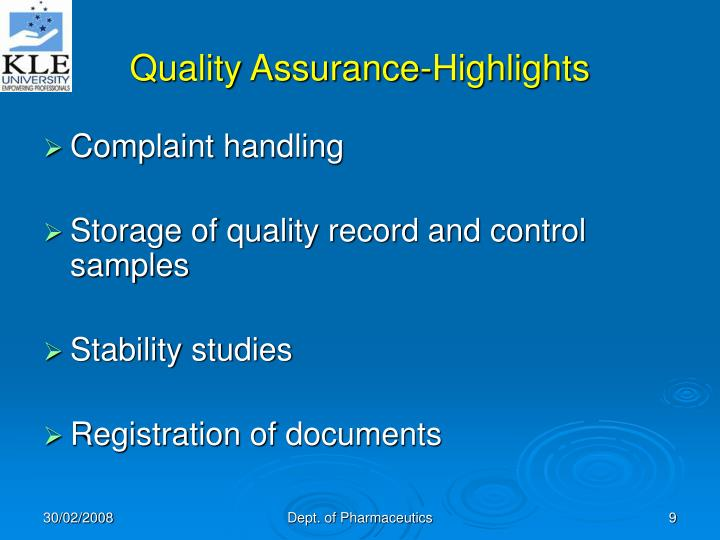 Quality Assurance-Highlights