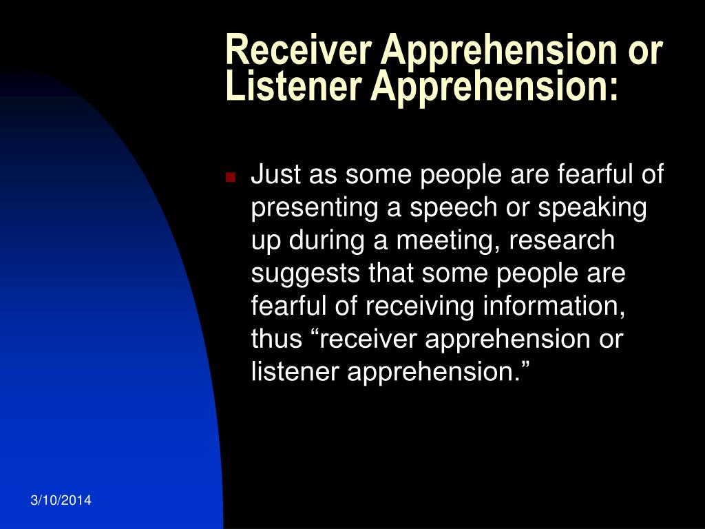 Receiver Apprehension or Listener Apprehension: