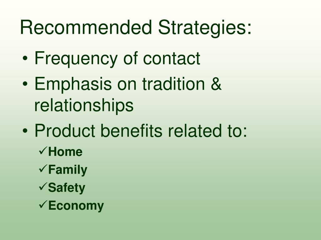 Recommended Strategies: