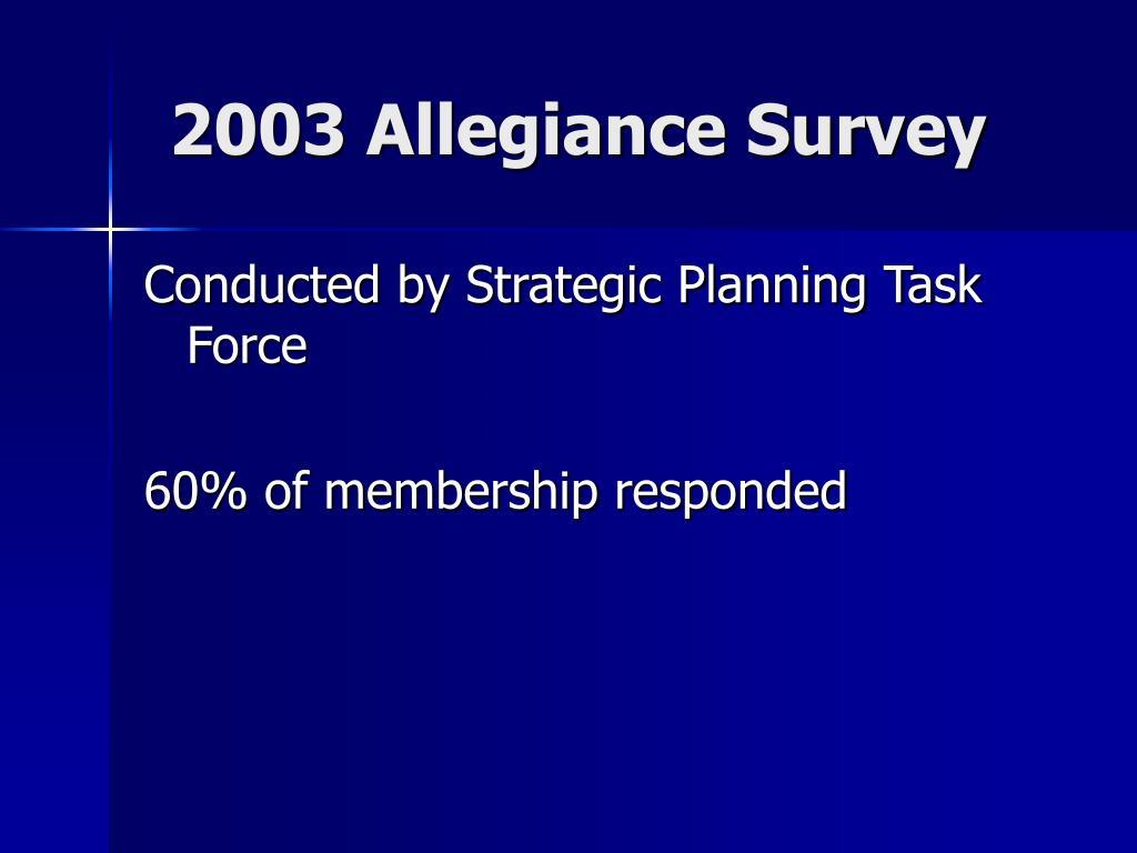 2003 Allegiance Survey