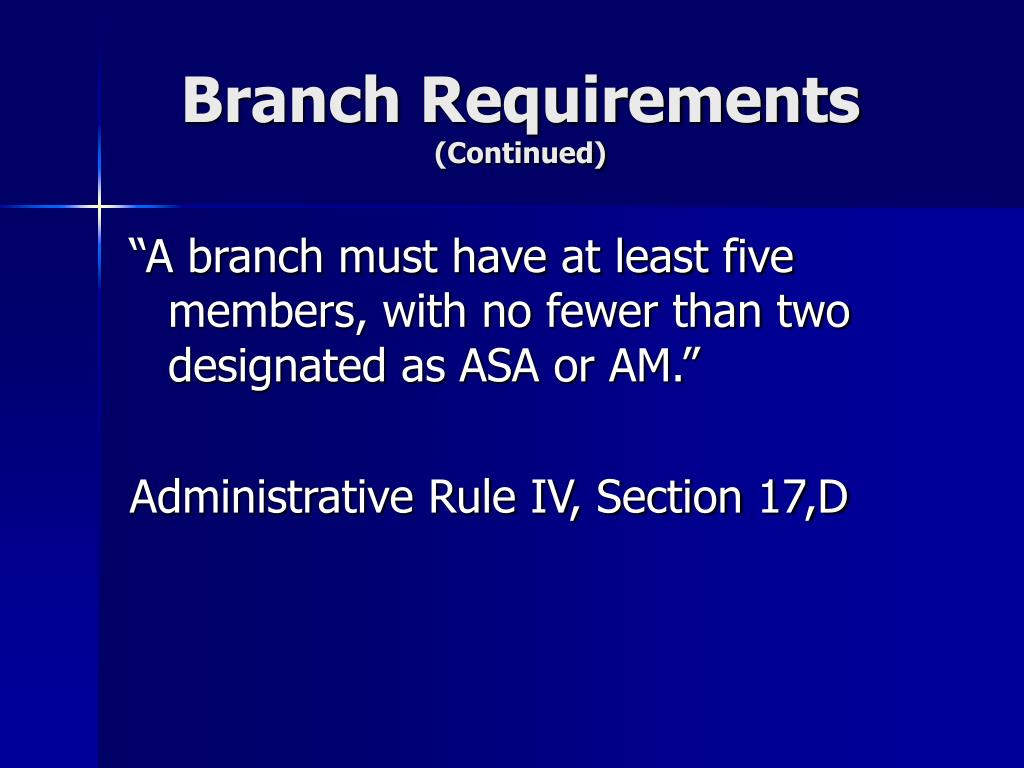 Branch Requirements