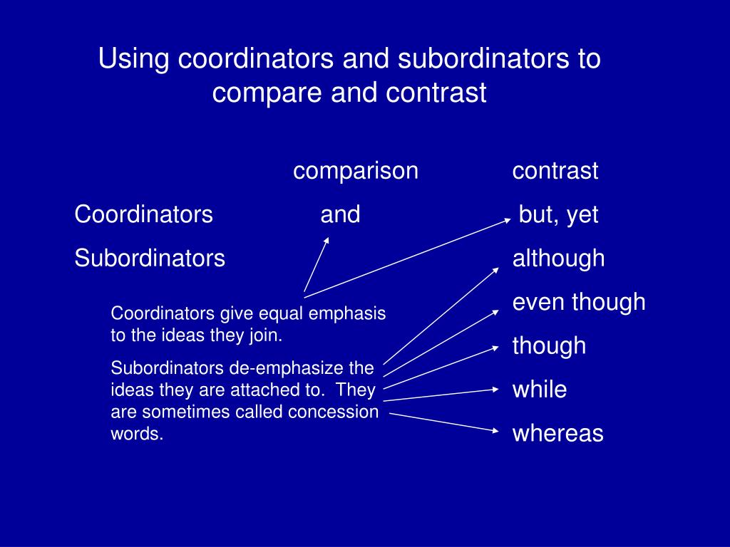 Using coordinators and subordinators to compare and contrast