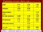 explaining currency shares logit pre euro 1973 98