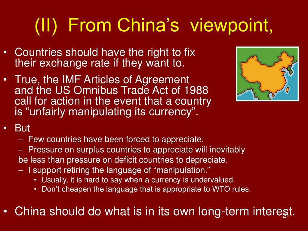 (II)  From China's  viewpoint,