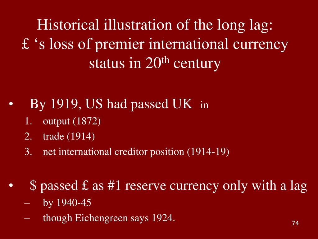 Historical illustration of the long lag: