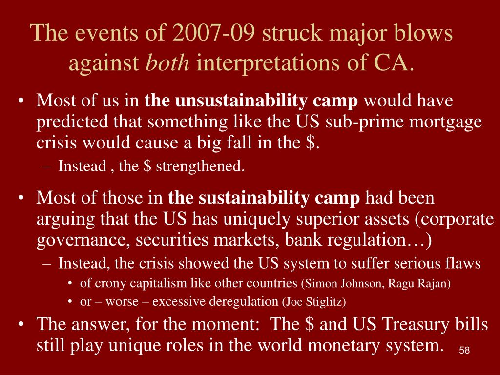 The events of 2007-09 struck major blows against