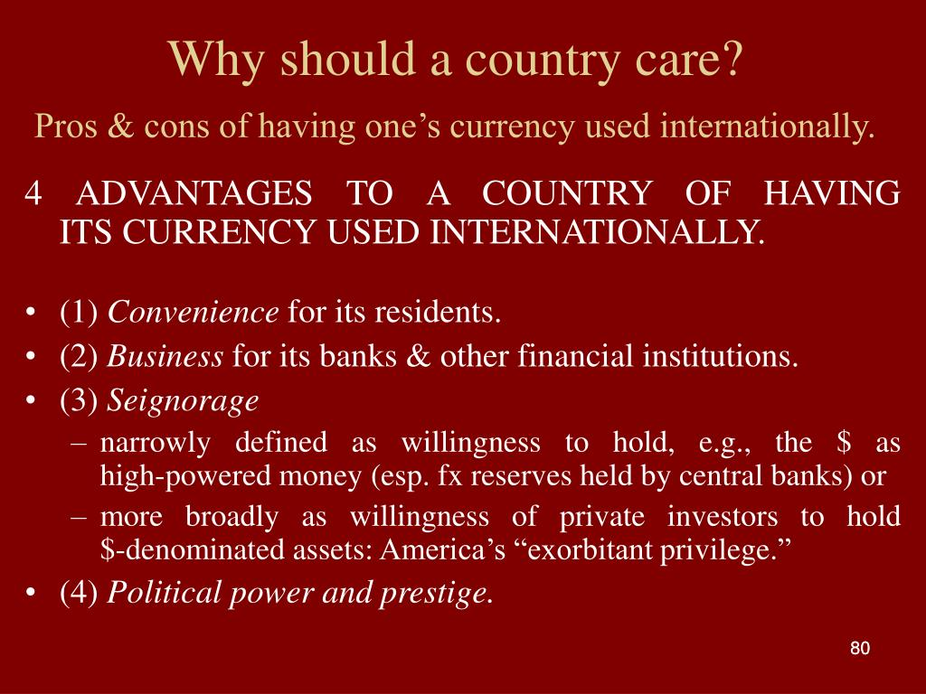 Why should a country care?