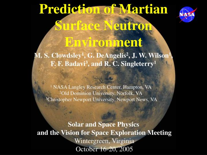 Prediction of martian surface neutron environment l.jpg