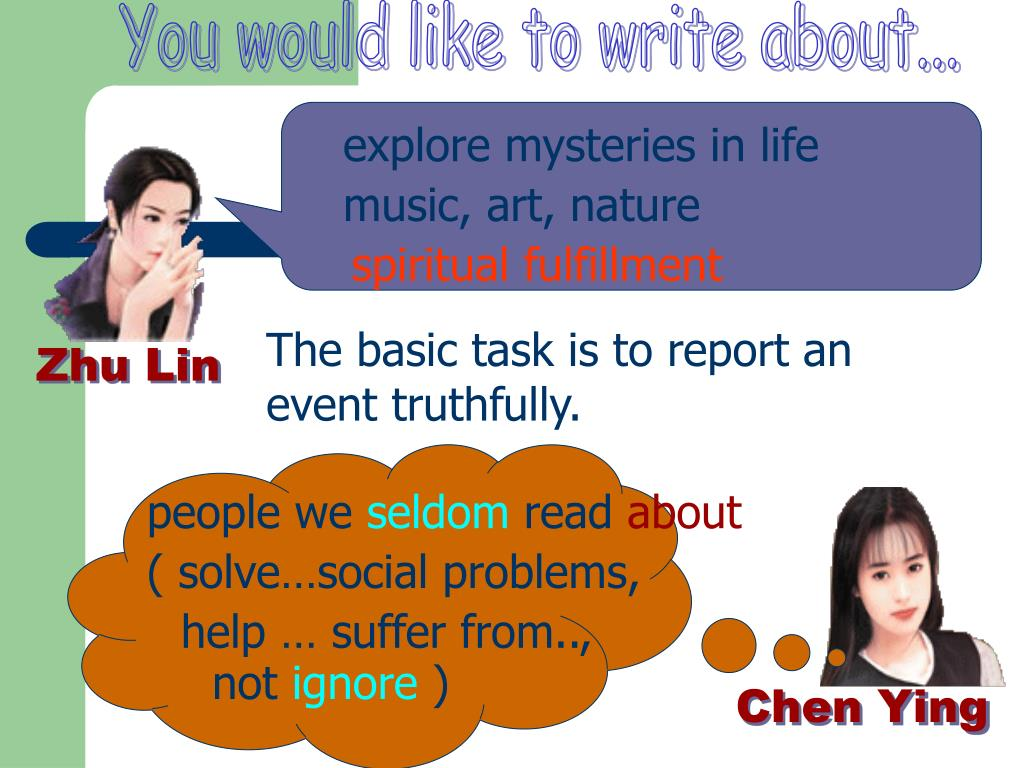 You would like to write about...