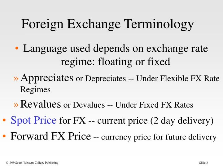 Foreign exchange terminology