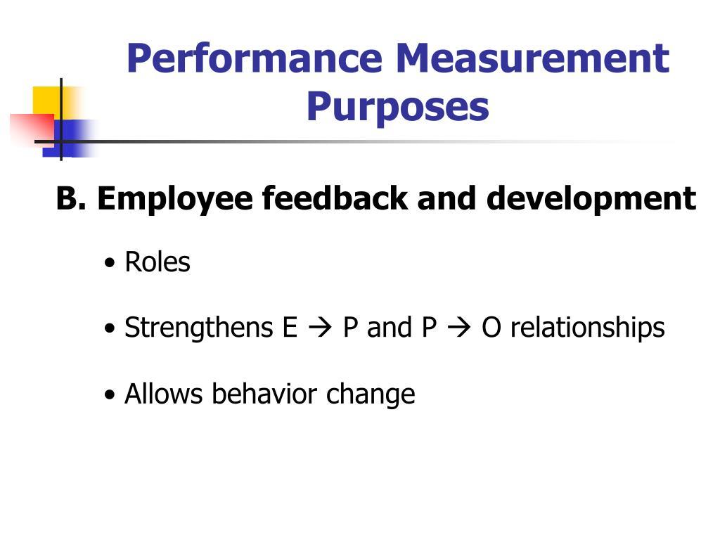 Performance Measurement Purposes