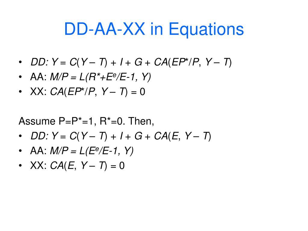 DD-AA-XX in Equations