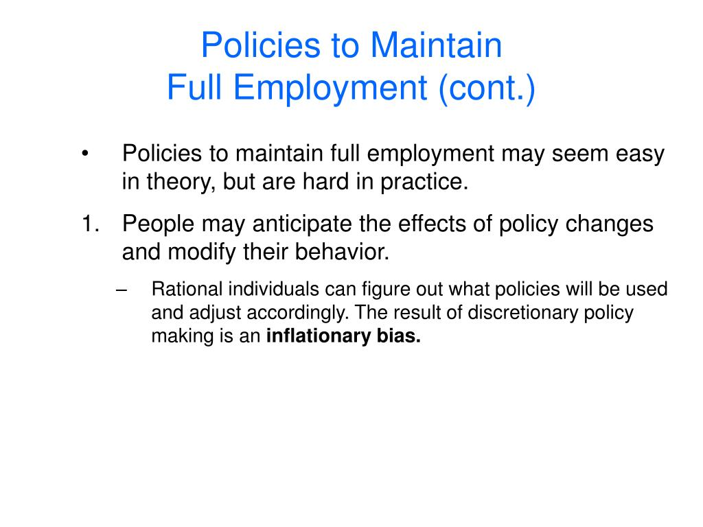 Policies to Maintain