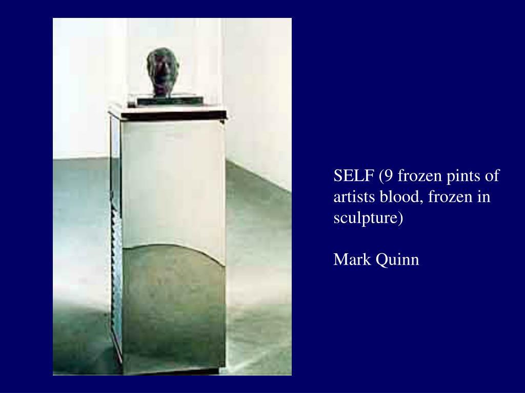 SELF (9 frozen pints of artists blood, frozen in sculpture)