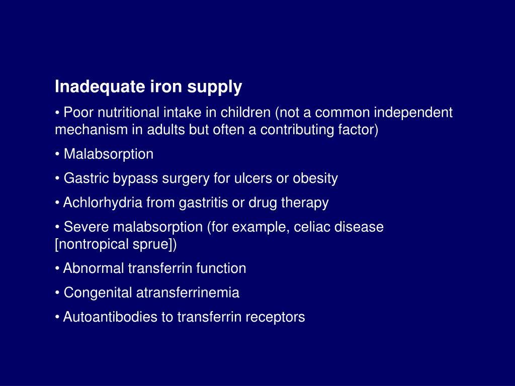 Inadequate iron supply
