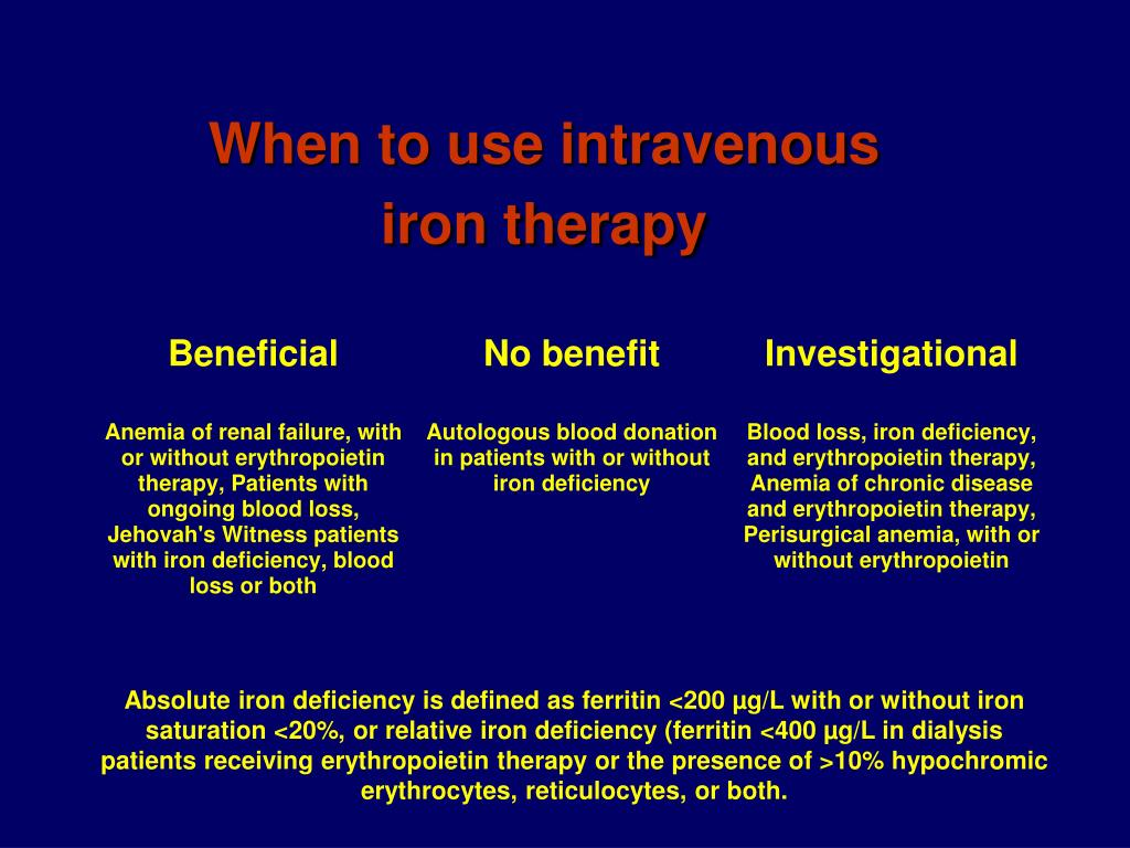 When to use intravenous