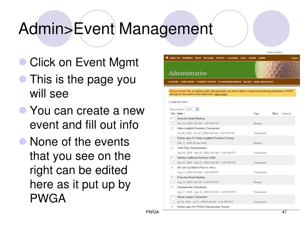 Admin>Event Management