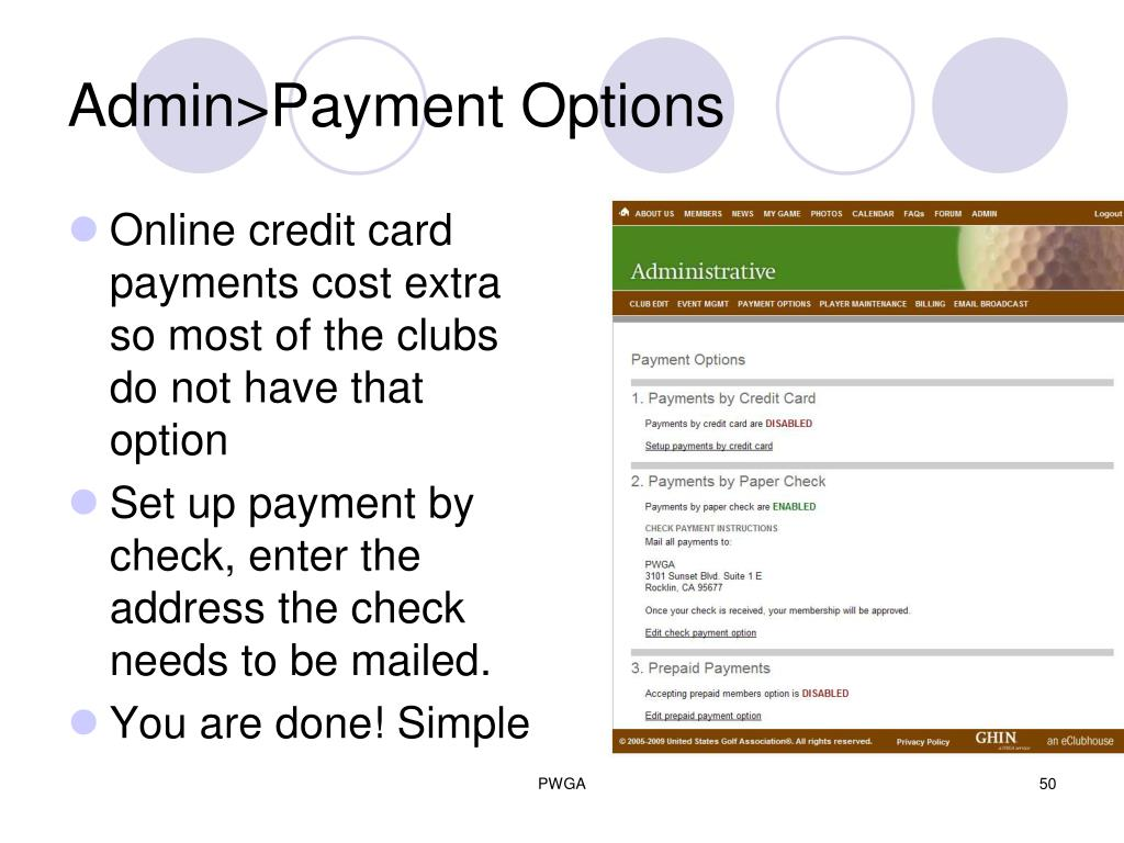 Admin>Payment Options
