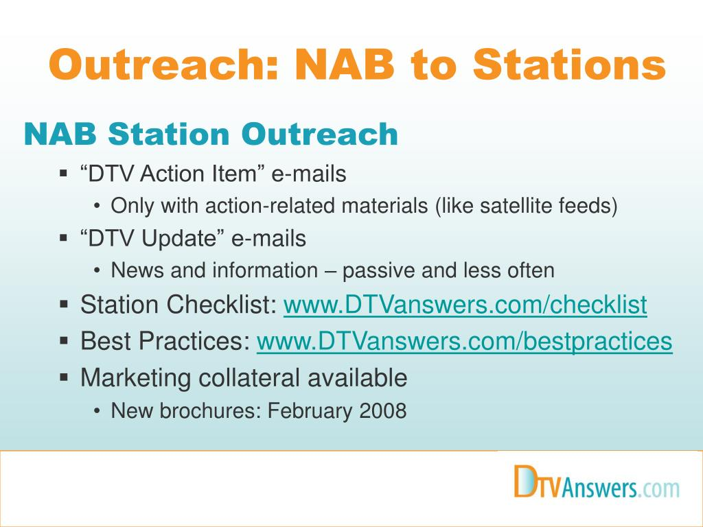 Outreach: NAB to Stations