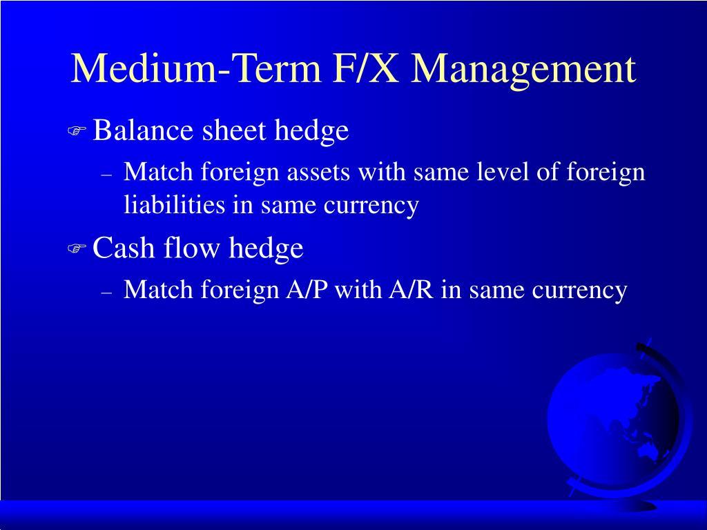 Medium-Term F/X Management