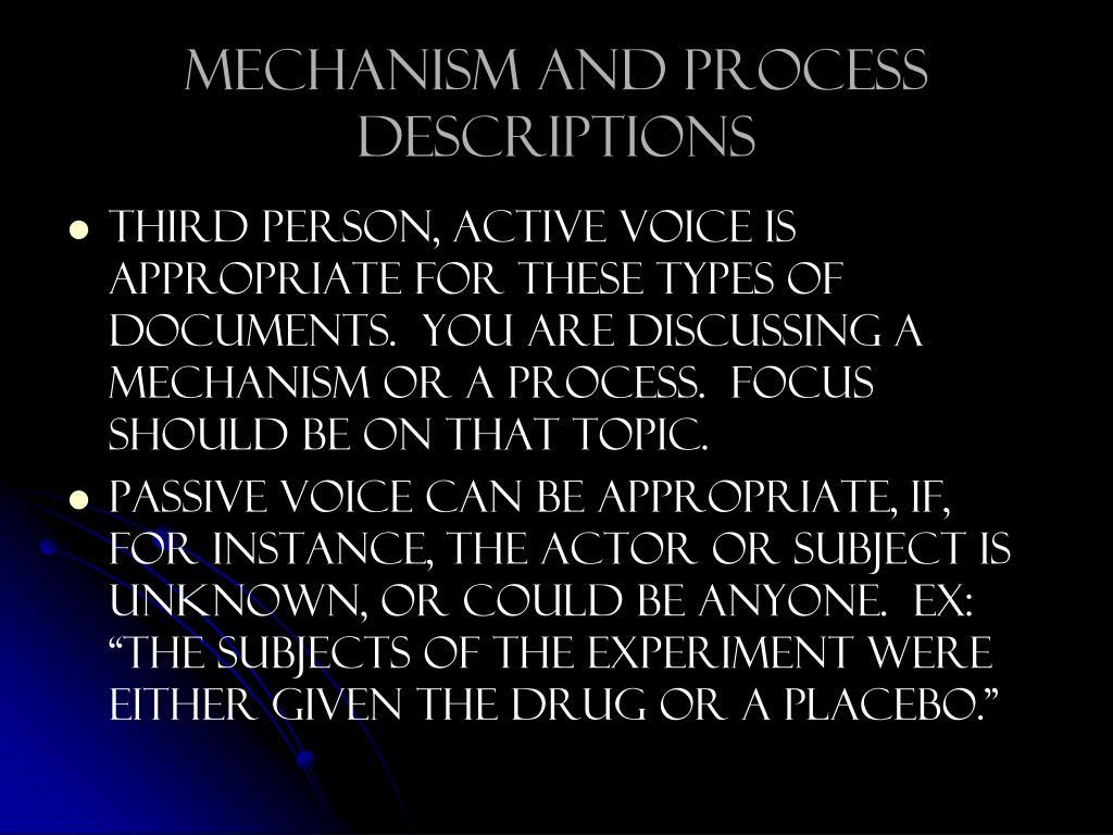 Mechanism and process descriptions
