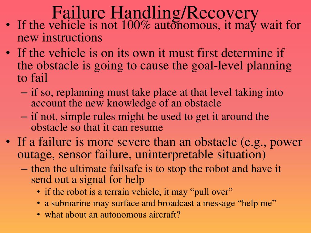 Failure Handling/Recovery