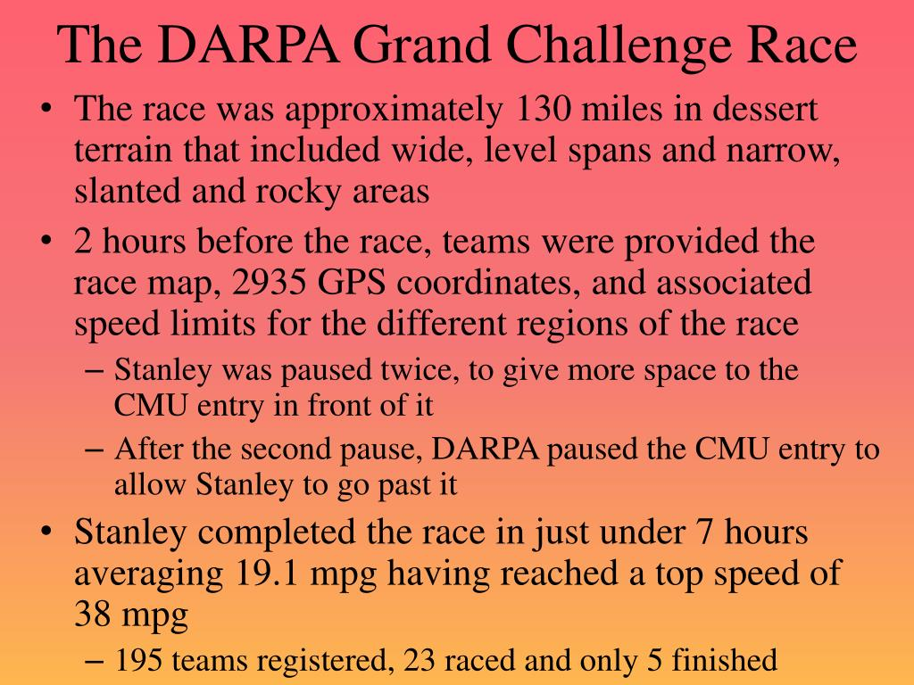 The DARPA Grand Challenge Race