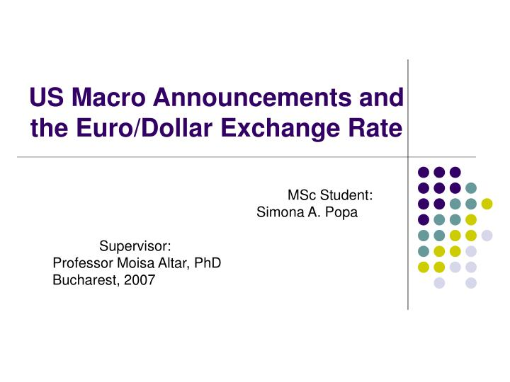 Us macro announcements and the euro dollar exchange rate