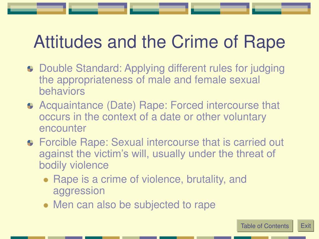 Attitudes and the Crime of Rape