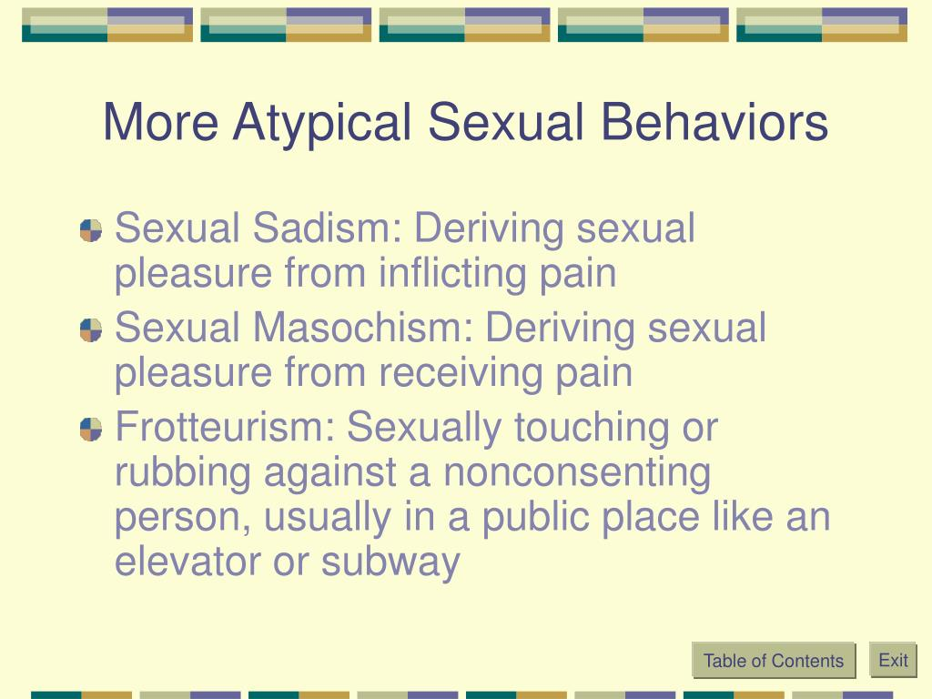 More Atypical Sexual Behaviors