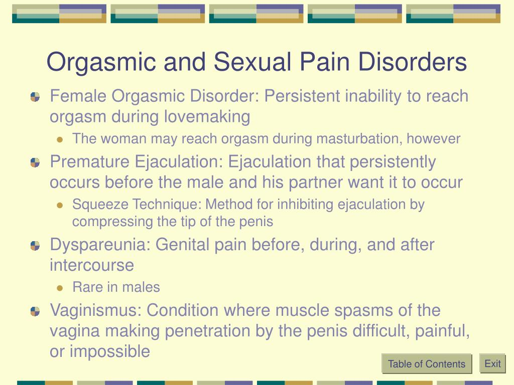 Orgasmic and Sexual Pain Disorders