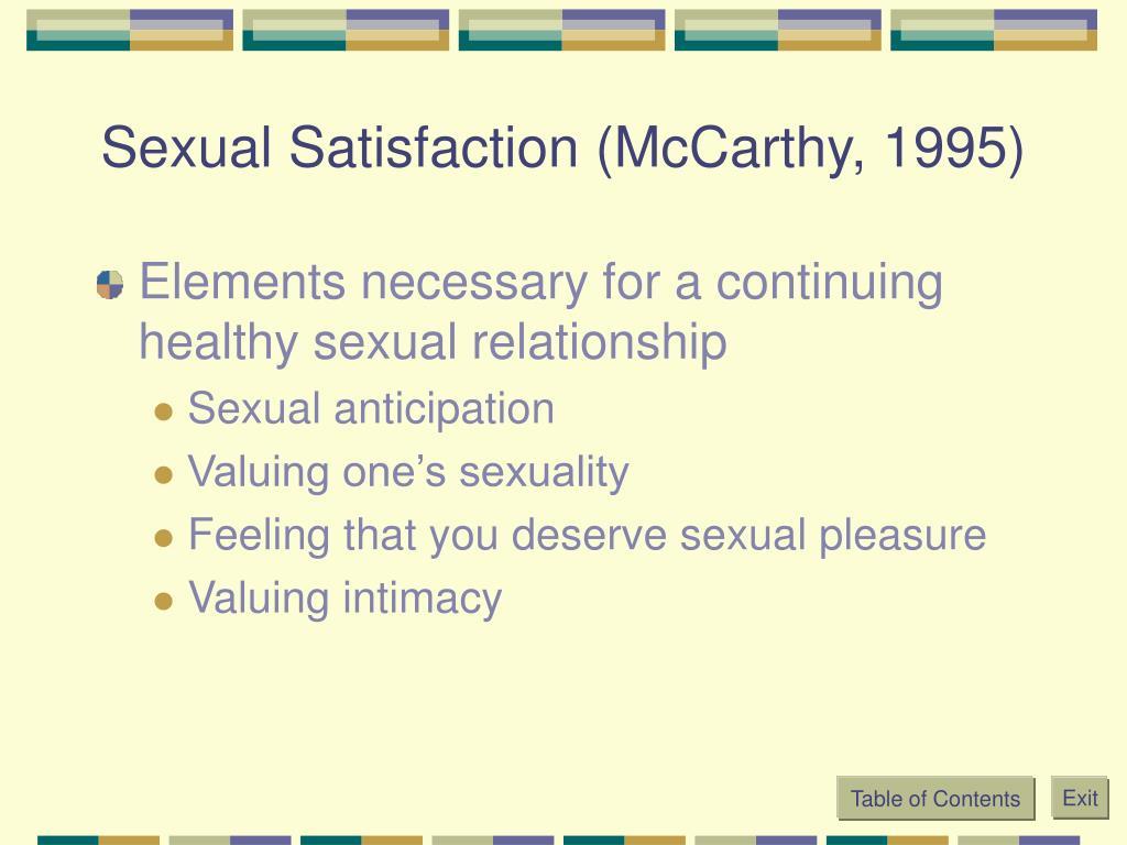Sexual Satisfaction (McCarthy, 1995)