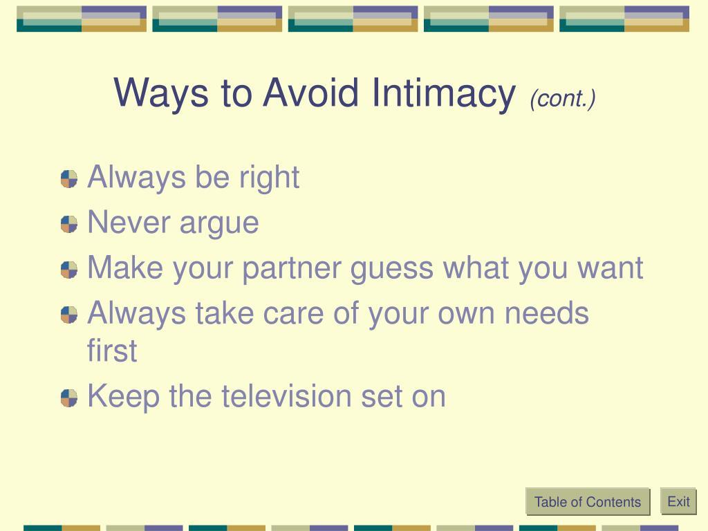 Ways to Avoid Intimacy
