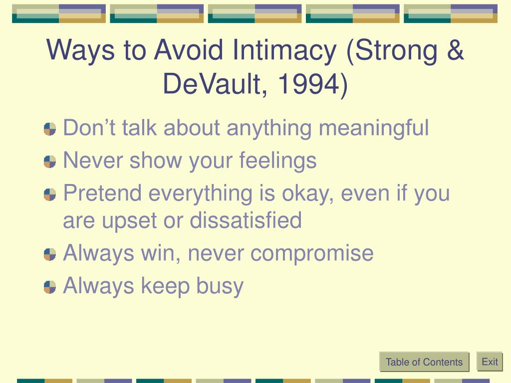 Ways to Avoid Intimacy (Strong & DeVault, 1994)
