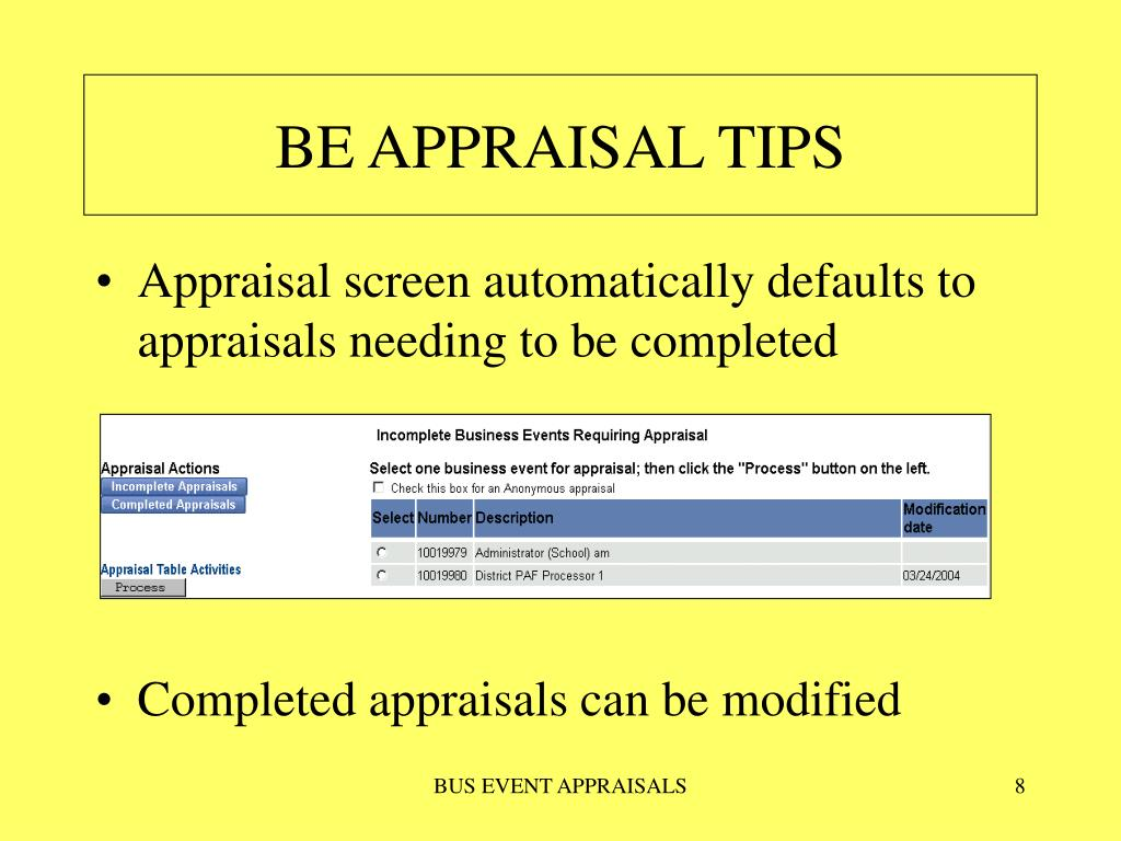 BE APPRAISAL TIPS