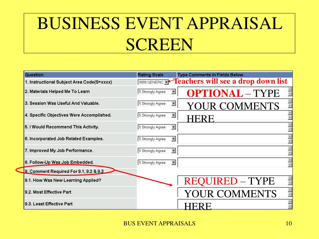 BUSINESS EVENT APPRAISAL SCREEN