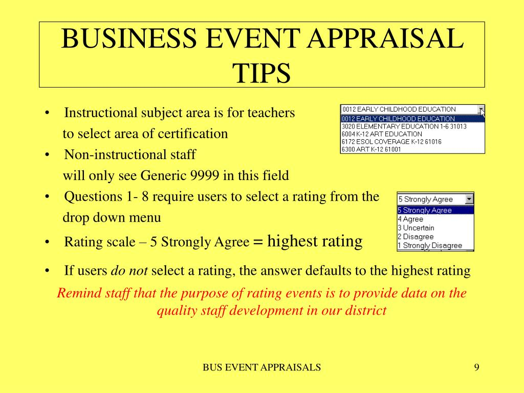 BUSINESS EVENT APPRAISAL TIPS
