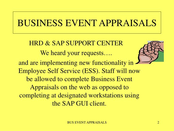 Business event appraisals
