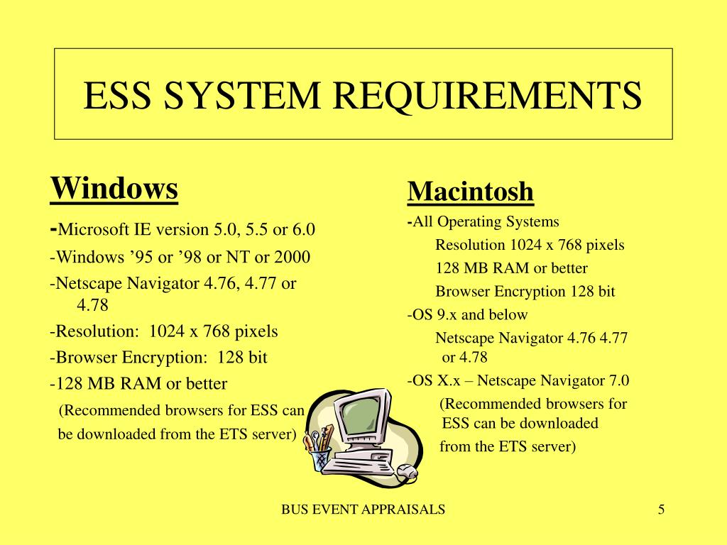 ESS SYSTEM REQUIREMENTS