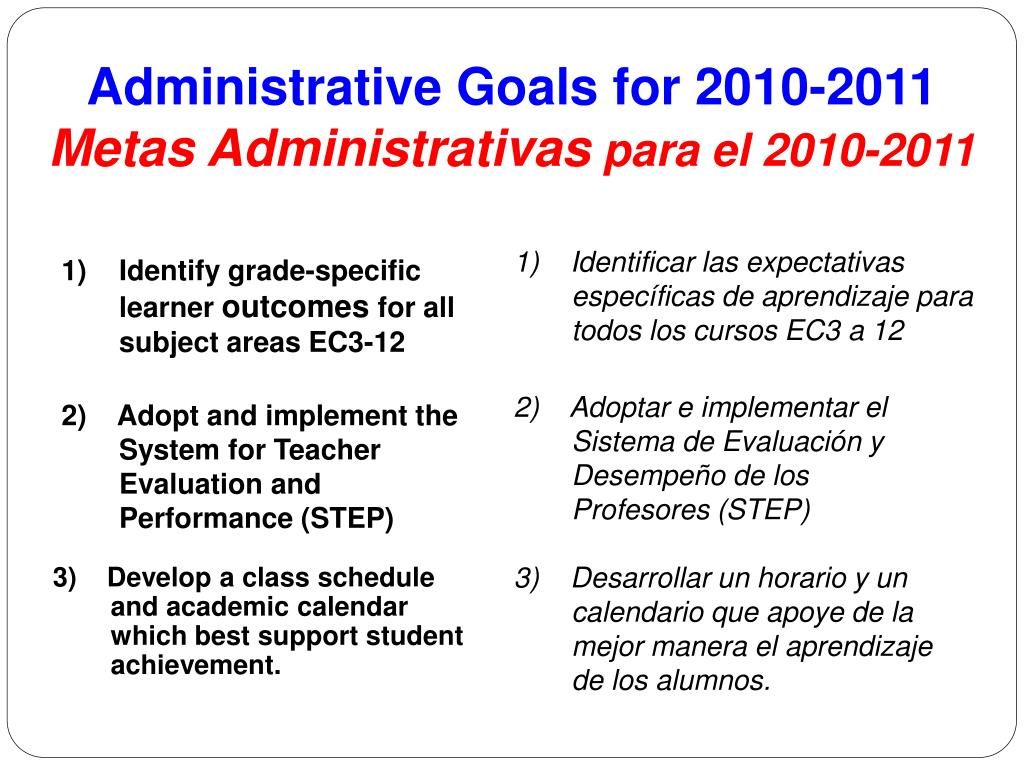 Administrative Goals for 2010-2011