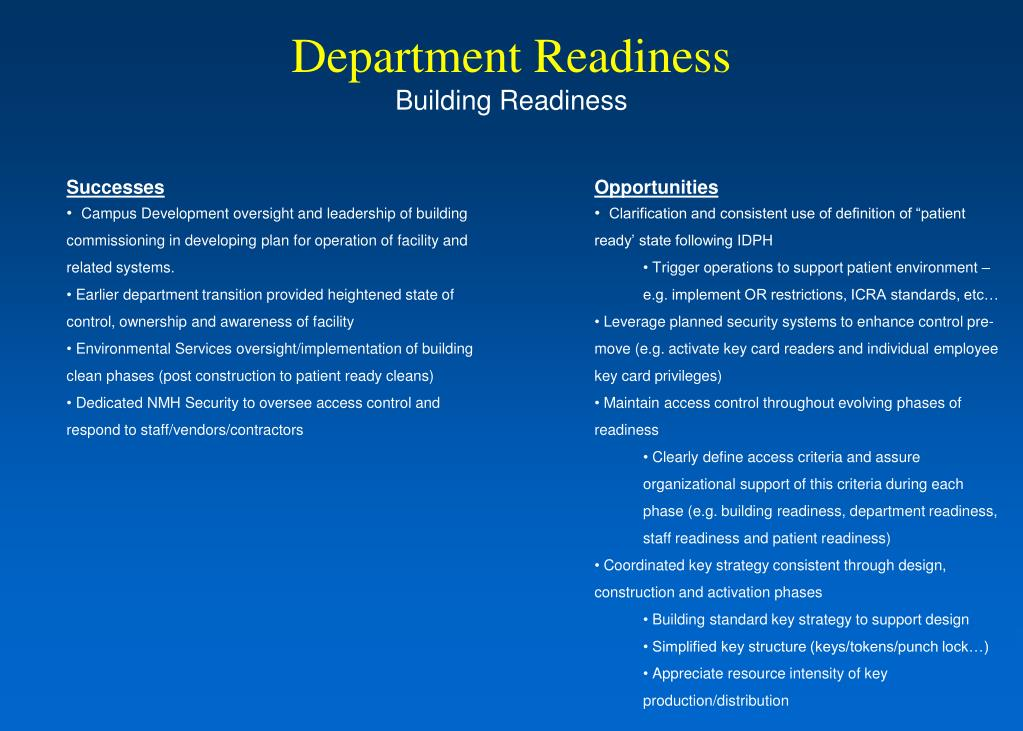 Department Readiness